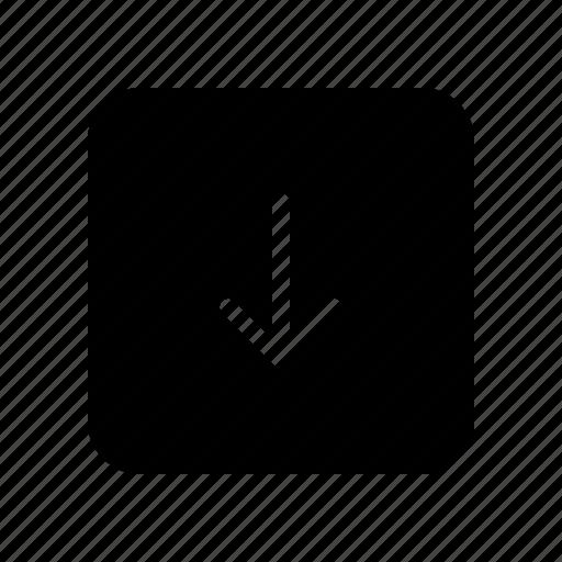 arrow, copy, direction, down, square icon