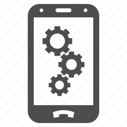 android settings, automation, factory options, gear, mobile, phone, tools icon