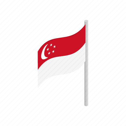 asia, country, flag, isometric, nation, national, singapore icon