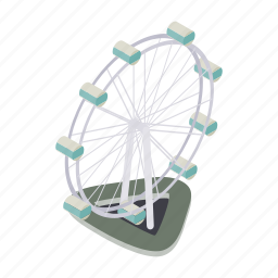 amusement, entertainment, ferris, fun, isometric, park, wheel icon
