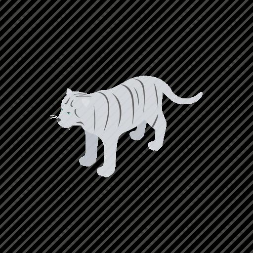animal, cat, isometric, nature, tiger, white, wild icon