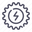 cogwheel, energy, flash, process icon