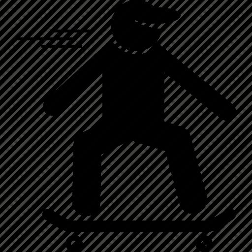 skateboard, skateboarder, skateboarding icon