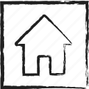 dwelling, home, house, sketch icon
