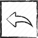 arrow, back, behind, exit, left, left arrow, sketch icon