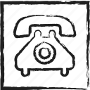 call, old, old phone, phone, sketch, telephone icon
