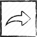 arrow, forward, next, right, right arrow, sketch icon