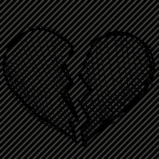 Breakup, Broken, Crack, Divorce, Heart, Heartbreak, Love Icon