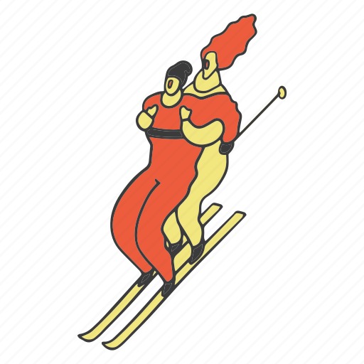 coople, doodle, ski, skiing, sport, winter icon