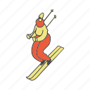 doodle, girl, ski, skiing, sport, winter, woman icon