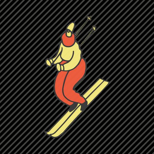 doodle, girl, ski, skiing, sport, winter, woman icon