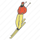 doodle, man, ski, skiing, sport, winter icon
