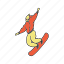 artboard, doodle, man, skiing, snowboarding, sport, winter icon