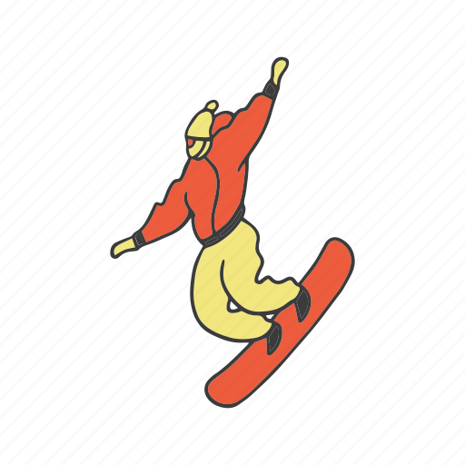 artboard, doodle, man, skiing, snowboarding, sport, winter icon