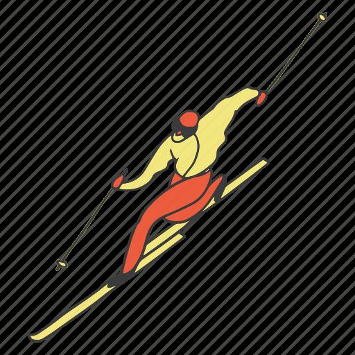 doodle, man, ski, skiing, sport, winter icon
