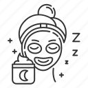 cream, face, mask, night, package, product, sleeping icon