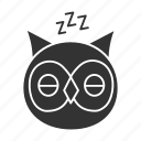 bedtime, bird, chronotype, eveningness, nighttime, owl, sleep icon