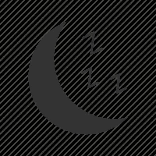 bedtime, crescent, moon, night, nighttime, sleep, zzz icon