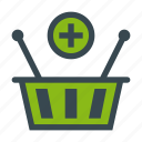 add, basket, ecommerce, grocery, supermarket icon