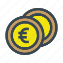 business, coin, coins, currency, euro, metal, money icon