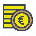 coin, coins, currency, euro, money, stack icon