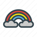 after, clouds, colorful, playful, rain, rainbow, sky icon