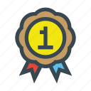 achievement, first, medal, number, one icon