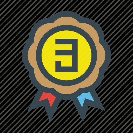 achievement, medal, number, third, three icon