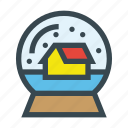 ball, decoration, house, snow, snowflake icon