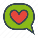 bubble, chat, comment, feedback, heart, like, love icon