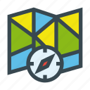 compass, folded, map, tourism icon