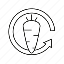 arrow, carrot, fresh, renewable icon