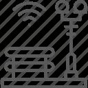 bench, city, lantern, park, smart, zone icon