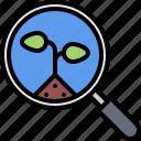 farm, farmer, garden, magnifier, search, smart, study icon