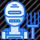farm, farmer, garden, pitchfork, robot, smart icon