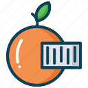 barcode, barcode reader, fruit, orange, scanning, smart farm