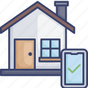 approve, complete, confirm, home, house, smart, smartphone