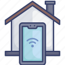 connect, home, house, smart, smartphone, wireless icon