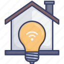 home, house, light, lightbulb, lighting, smart, wireless icon