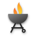 bbq, fire, open, party, dishes icon