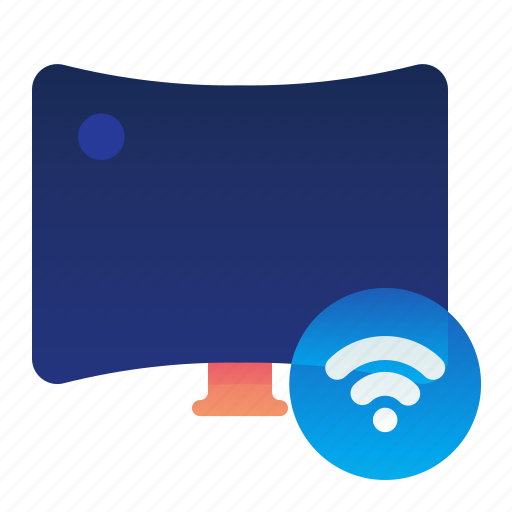 curved, smart, television, tv, wireless icon