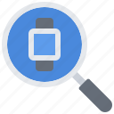 interface, magnifier, search, smart, ui, watch icon