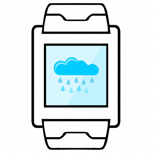 cloud, display, rain, smart, watch, weather icon