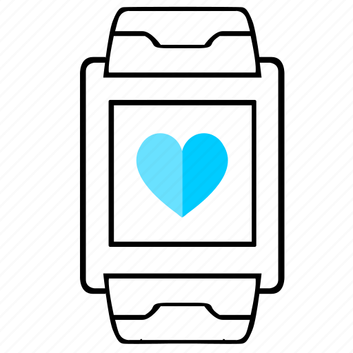 display, heart, like, love, smart, watch icon