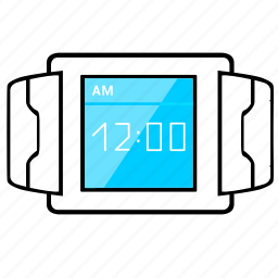 display, horizontal, screen, smart, time, watch icon