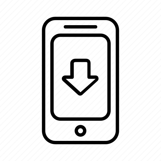 arrow, direction, down, location, phone, point, smartphone icon