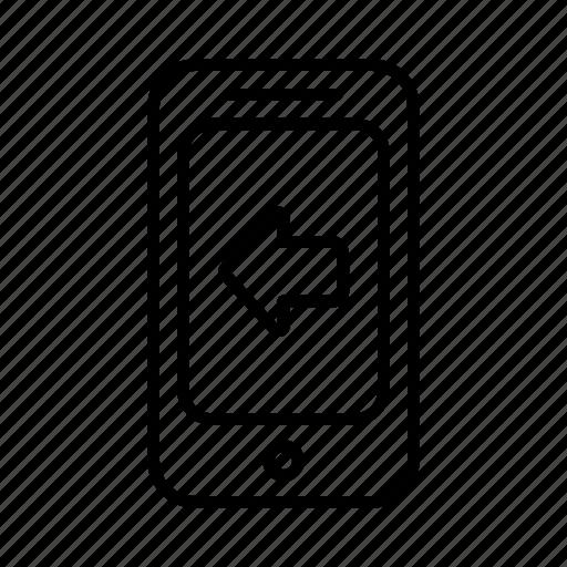 arrow, direction, left, location, phone, smartphone icon