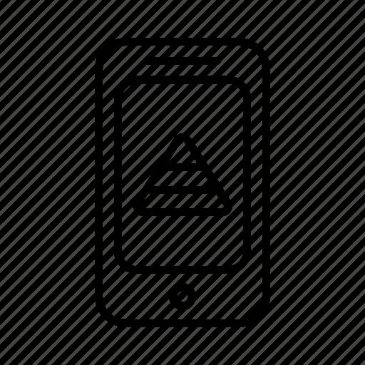 analytics, data, graph, math, phone, pyramid, smartphone icon