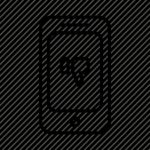 dislike, hand, like, phone, smartphone, thumbs, thumbs down icon