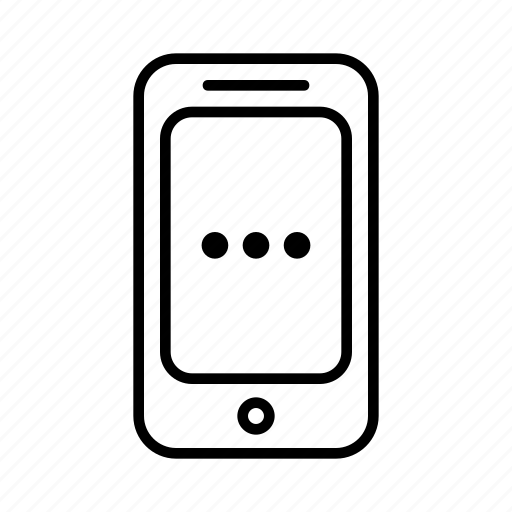 circle, dots, pause, phone, smartphone, waiting icon